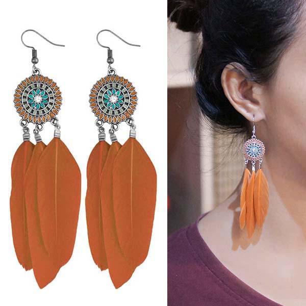 Anting Bohemian ethnic round feather earrings J4U980