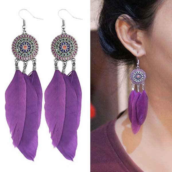 Anting Bohemian ethnic round feather earrings J4U982