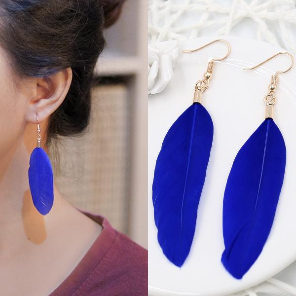 Anting Bohemian minimalist feather earrings J4U999