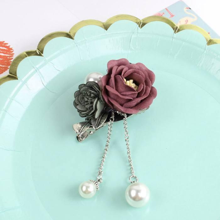 Bross Flower Pearl Brooch Pin JU1029
