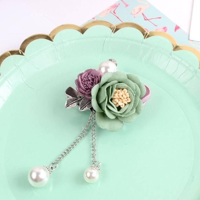 Bross Flower Pearl Brooch Pin JU1030