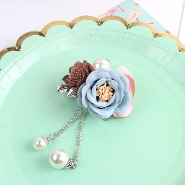 Bross Flower Pearl Brooch Pin JU1032