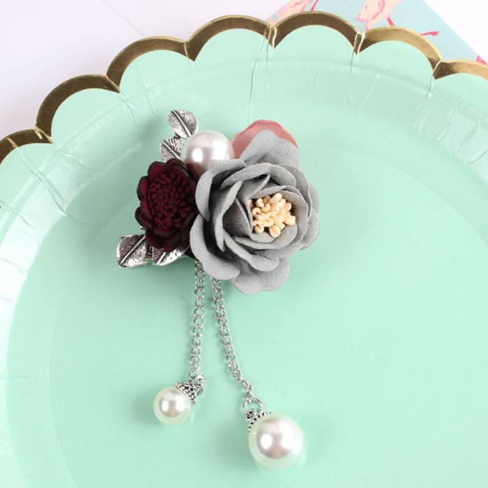 Bross Flower Pearl Brooch Pin JU1033