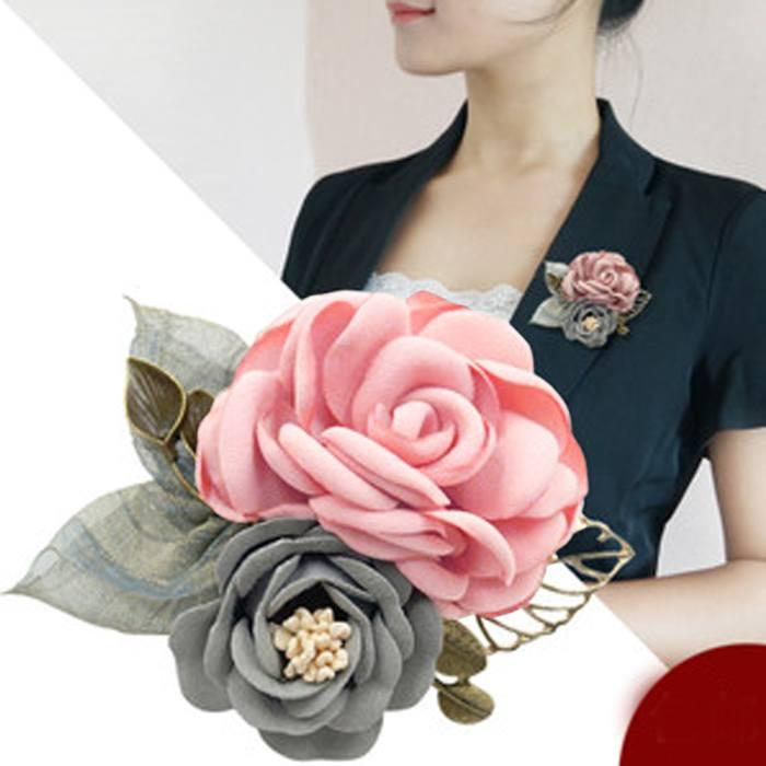 Bross Fashion Rose Leaves Flower Buckle Needle Brooch JU1047