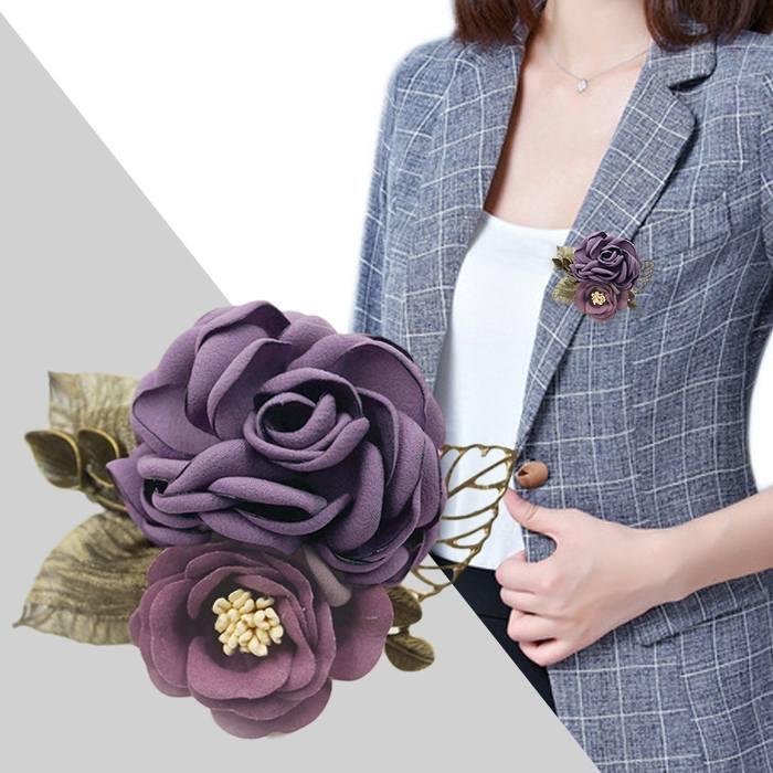 Bross Fashion Rose Leaves Flower Buckle Needle Brooch JU1049