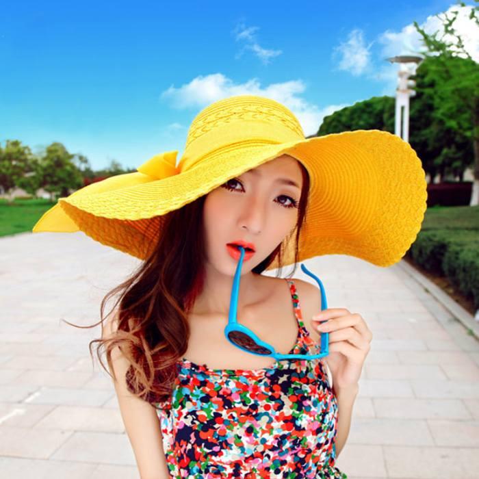 Pelengkap Pakaian Beach Hat Big Hat Straw Bow  JU1056