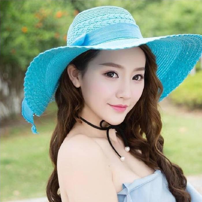 Pelengkap Pakaian Beach Hat Big Hat Straw Bow  JU1063