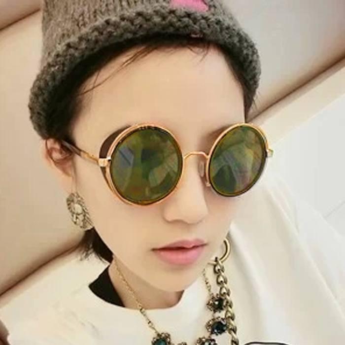 Kacamata Reflective Round Sunglasses  Retro Steampunk JU1247