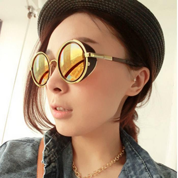 Kacamata Reflective Round Sunglasses  Retro Steampunk JU1248