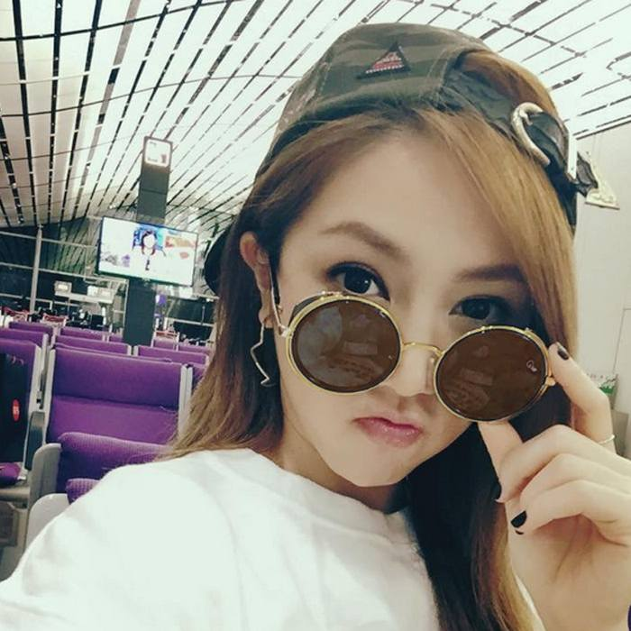 Kacamata Transparant Round Sunglasses  Retro Steampunk JU1249