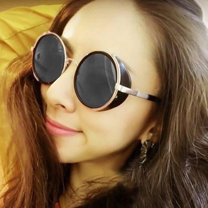 Kacamata Reflective Round Sunglasses  Retro Steampunk JU1252