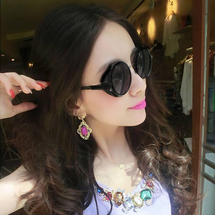 Kacamata Transparant Round Sunglasses  Retro Steampunk JU1253