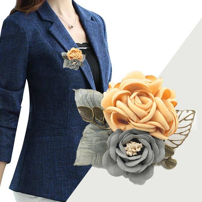 Bross Fashion Rose Leaves Flower Buckle Needle Brooch JU1430