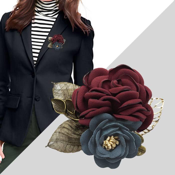 Bross Fashion Rose Leaves Flower Buckle Needle Brooch JU1431