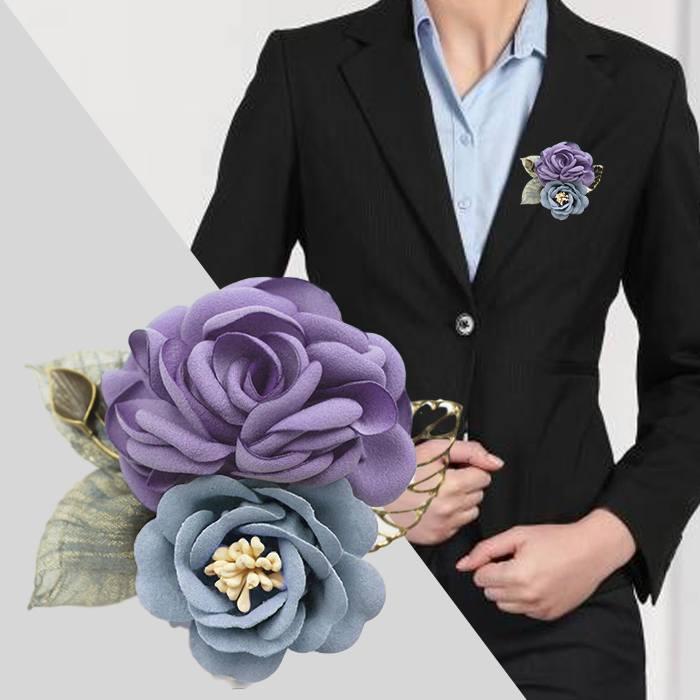 Bross Fashion Rose Leaves Flower Buckle Needle Brooch JU1432