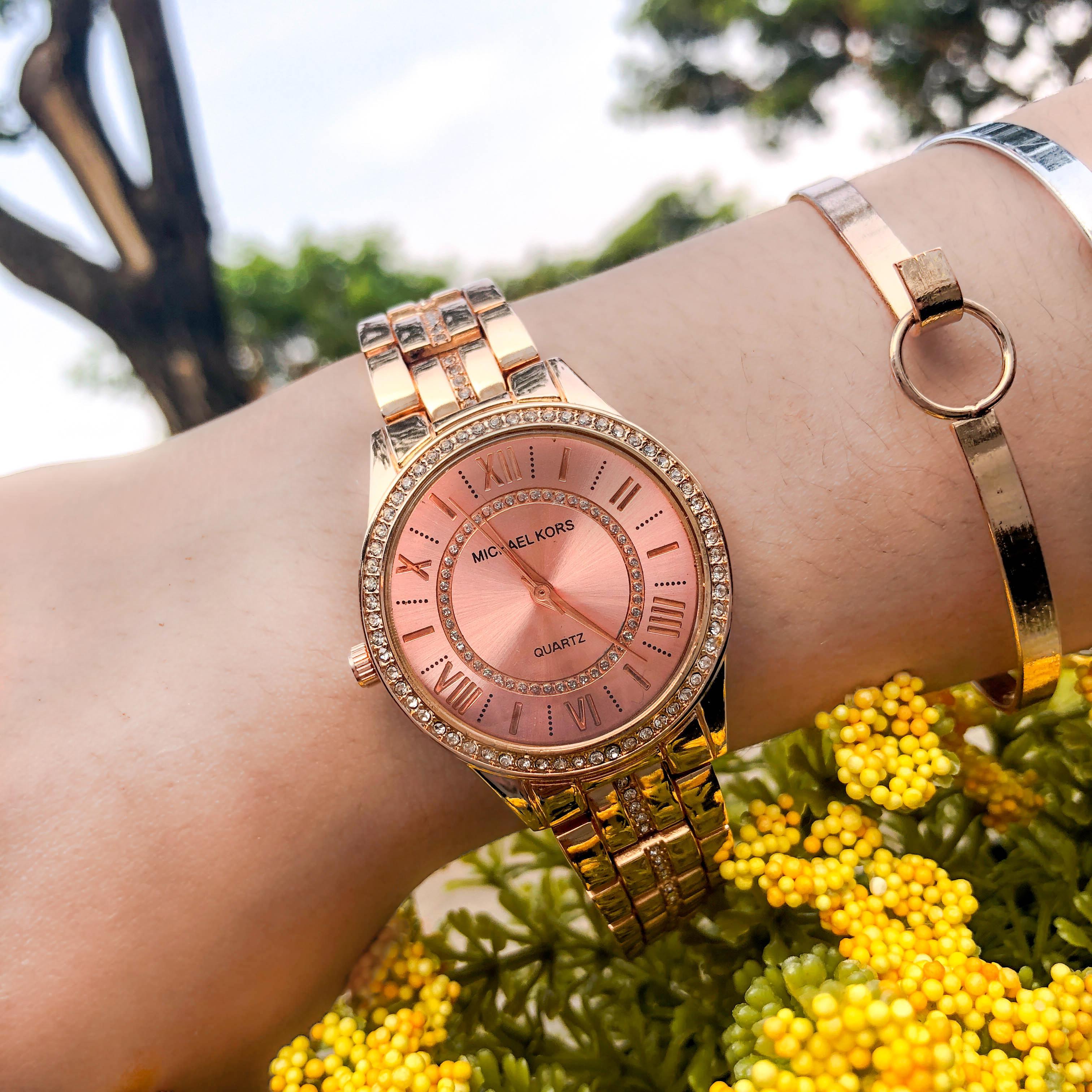 Jam Tangan MICHAEL KORS Fashion Watch Chain Rose Gold Frame Rose Gold Dial Rose Gold Band MKO005