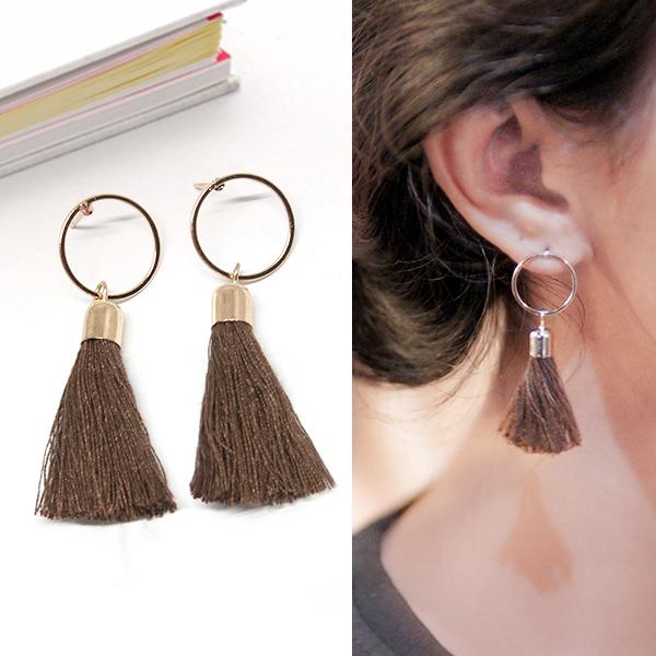 Anting Minimalist Circular Fringed Tassel Earrings R3A019