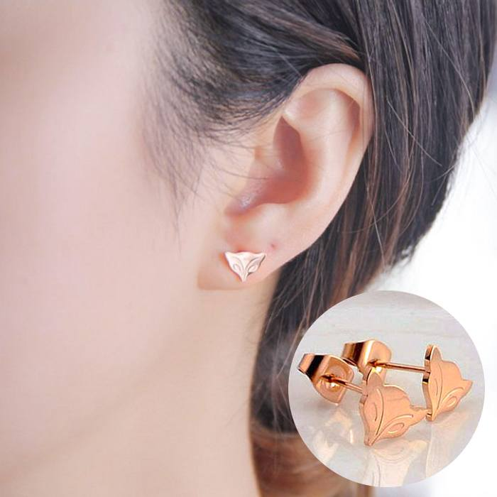 Anting Enchanting Fox Fairy Small Fox Titanium Steel 18K AG5054