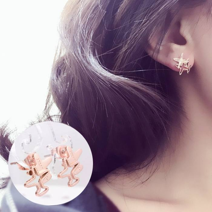 Anting Aircraft Earrings Titanium Steel 18K AG5087
