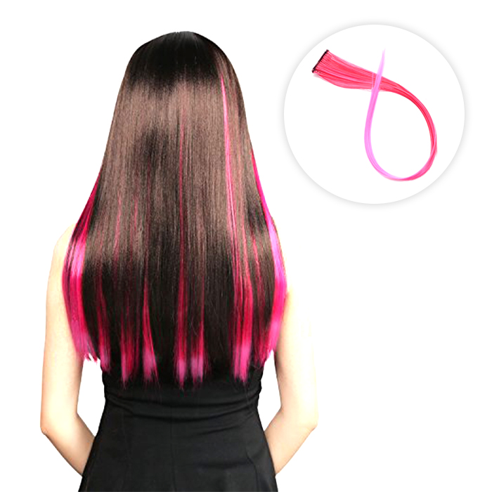 Wig Dan Hair Extension Color hair pink neon piece Straight hair wig AG5294