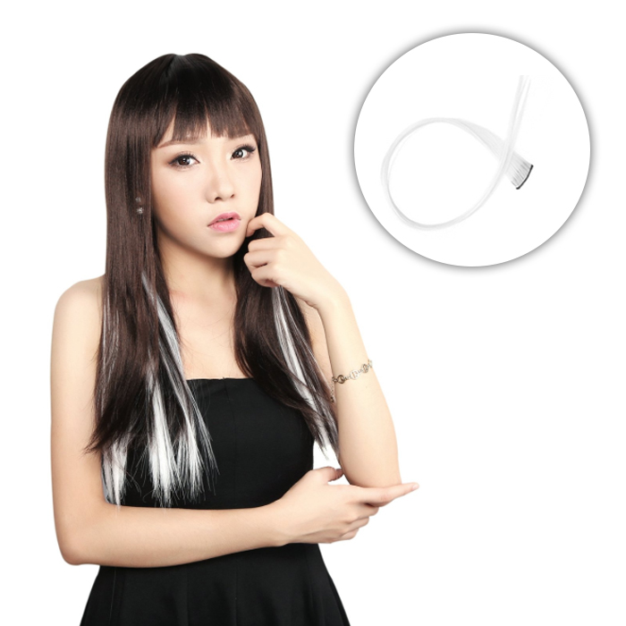 Wig Dan Hair Extension Color hair white piece Straight hair wig  AG5296