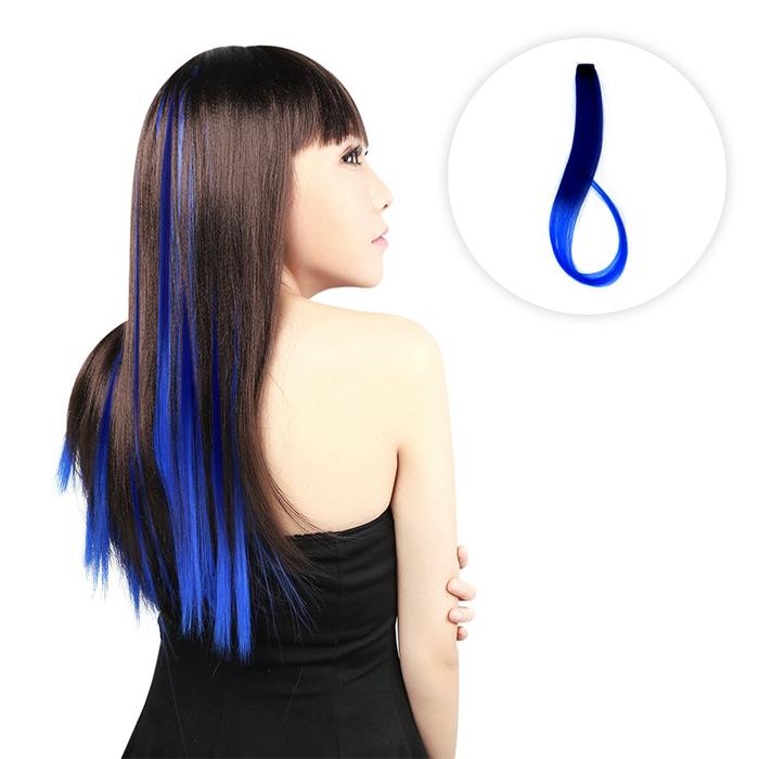 Home Health & Beauty Color hair blue piece  Straight hair wig AG5300