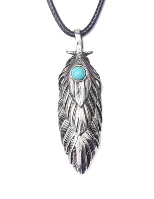 MAN feather shape necklace