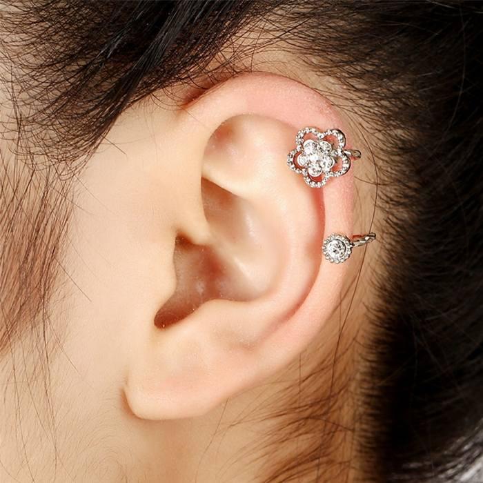 Anting Korea zircon earrings fashion crystal earless petal  JA0036