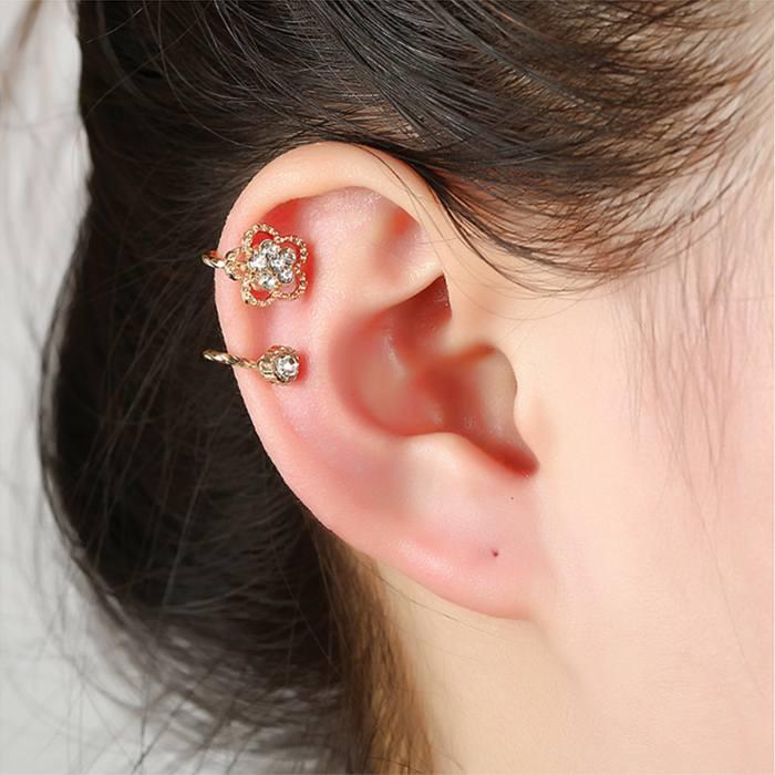 Anting Korea zircon earrings fashion crystal earless petal  JA0038
