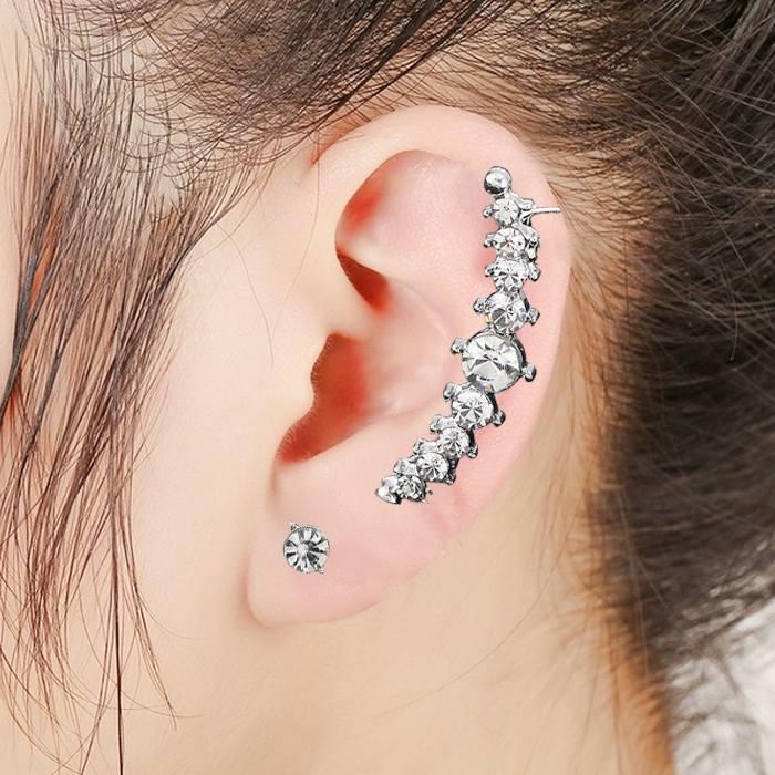 Anting Korea double ear hole diamond ear clip  JA0052