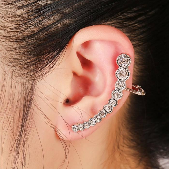 Anting Korea rhinestone earrings hypoallergenic ear clip JA0061