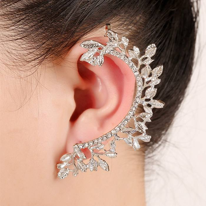 Anting Korea leaves earrings hypoallergenic diamond ear clip JA0064