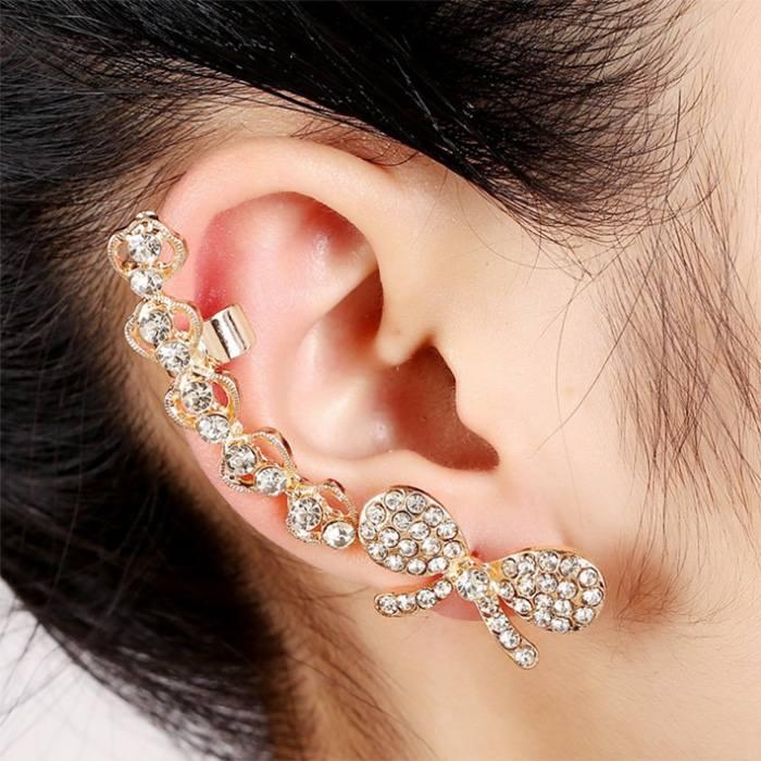 Anting Korea earrings ribbon ear clip diamonds peacock flower JA0070