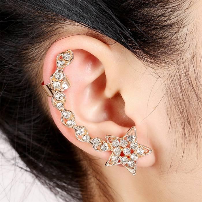 Anting Korea earrings stars ear clip diamonds peacock flower JA0071