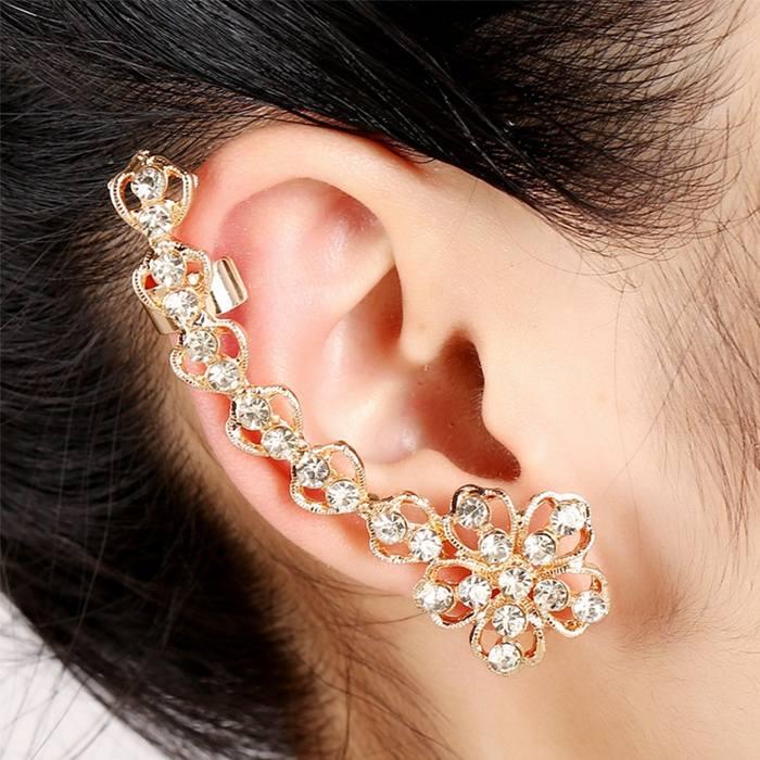 Anting Korea earrings stars ear clip diamonds peacock flower JA0072