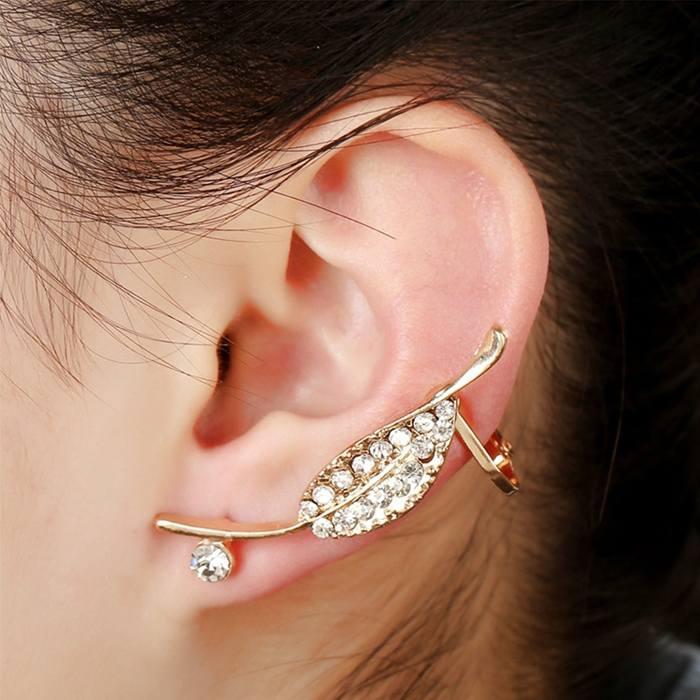 Anting Korea leaf ear clip earrings foreign trade full diamond JA0073