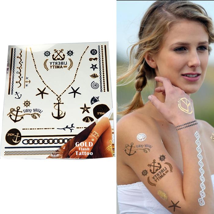 Home Health & Beauty Gold flash tatto temporary TAT041