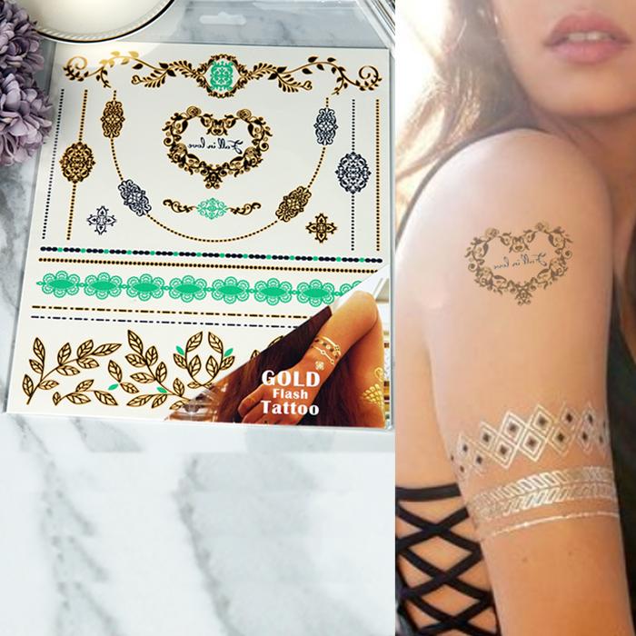 Home Health & Beauty Gold flash tatto temporary TAT042