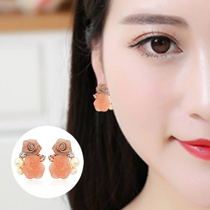 Anting No Needle  Pink Flowers Ear Clip-On JA0018