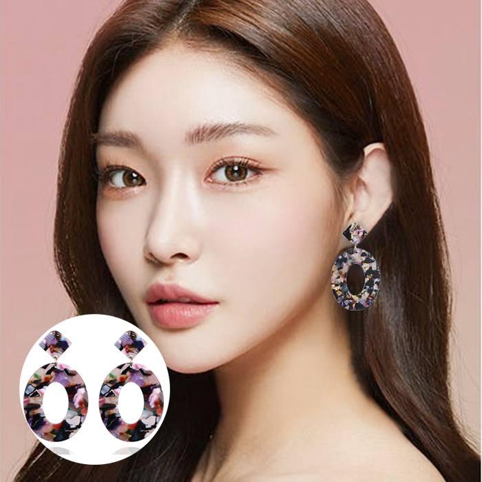 Anting Korea Oval Acrylic Earrings MAR003