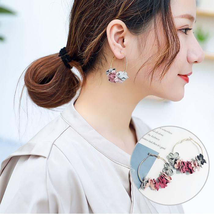 Anting Korea Flower Flash Drill Earrings MAR007