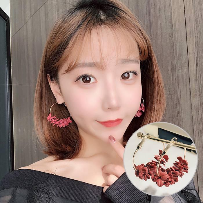 Anting Korea Flower Flash Drill Earrings MAR009