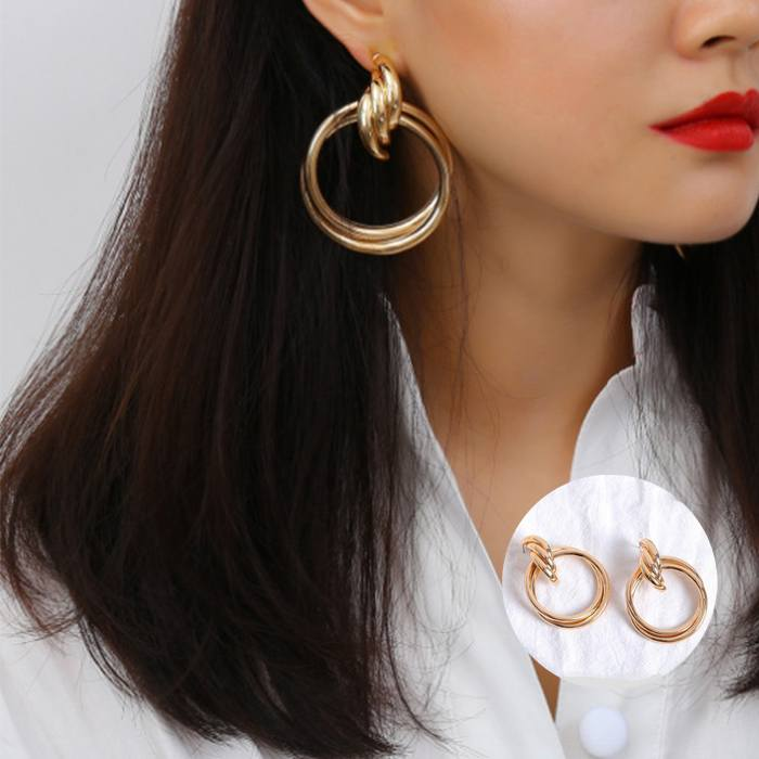 Anting Harajuku Small Triangle Double Leather Collar MAR011