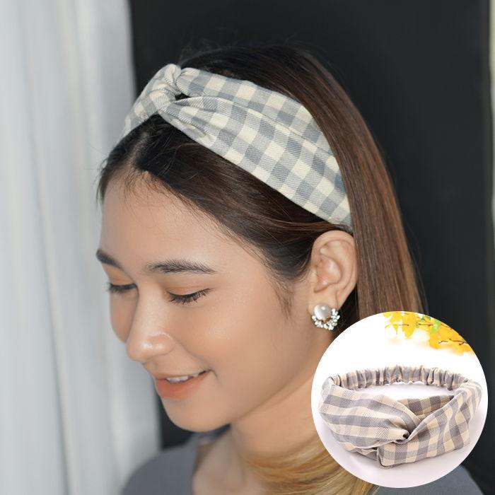 Bando & Ikat Rambut Korean headbend  fabric headband square contrast color sports AG5279