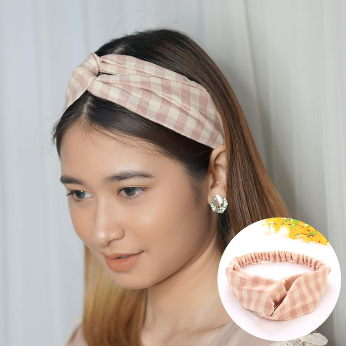 Bando & Ikat Rambut Korean headbend  fabric headband square contrast color sports AG5280