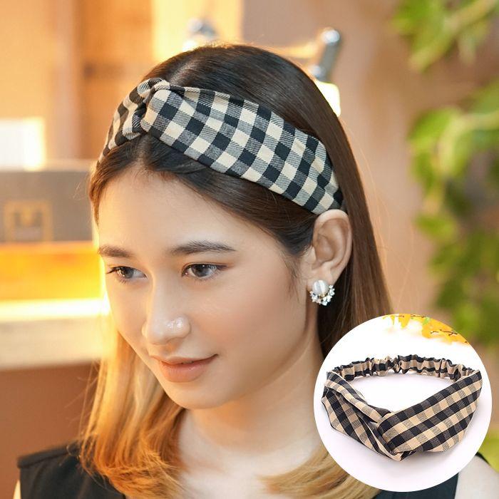 Bando & Ikat Rambut Korean headbend  fabric headband square contrast color sports AG5281