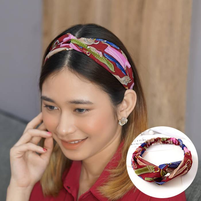 Bando & Ikat Rambut 2019 new European and American hair band chain printing elastic headband sports  AG5648