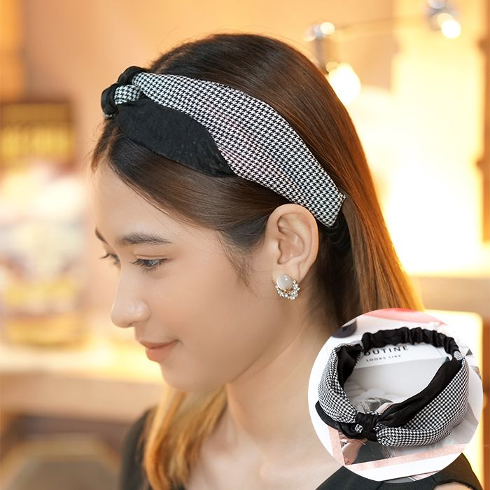 Bando & Ikat Rambut 2019 new Korean version of the houndstooth hit color knotted hair band  AG5654