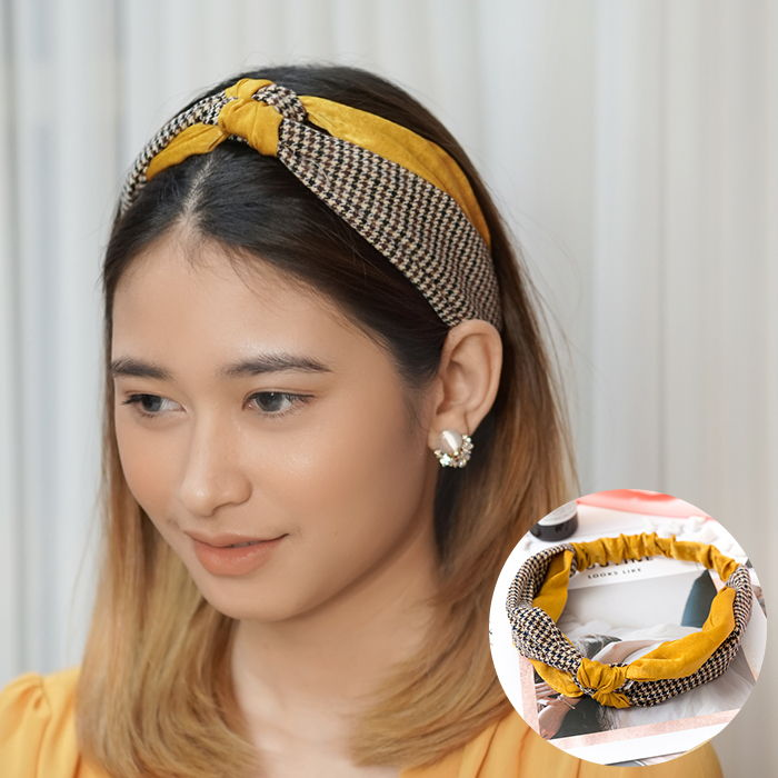 Bando & Ikat Rambut 2019 new Korean version of the houndstooth hit color knotted hair band  AG5655