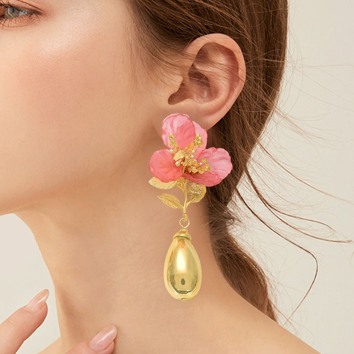 Anting earrings Europe and the United States simple style earrings flower color Gold & pink AG6033